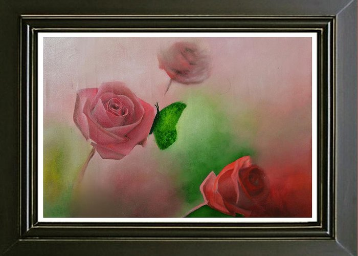 Pink Greeting Card featuring the painting Flowers by Deepak Deshmukh