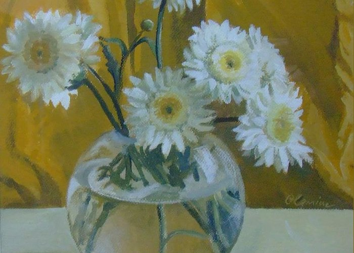 Still Life Greeting Card featuring the painting Flowers by Elena Oleniuc