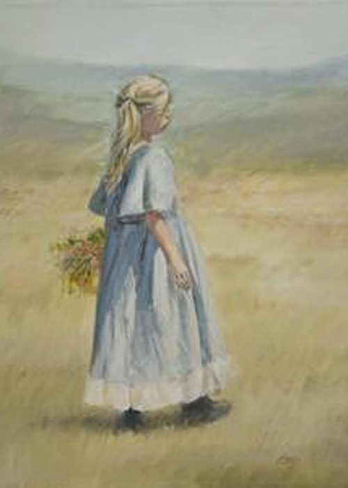 Child In Field Greeting Card featuring the painting Flowers For Mother by Linda Eades Blackburn