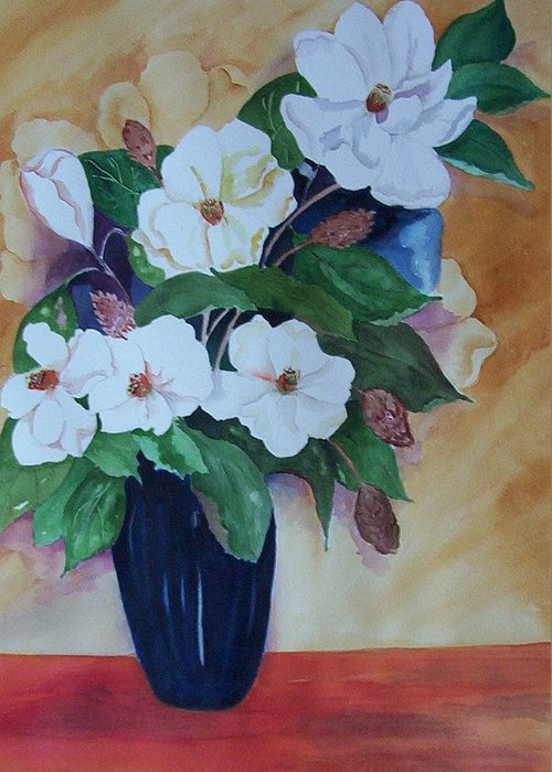 Floral Greeting Card featuring the painting Flowers For The Table by Audrey Bunchkowski