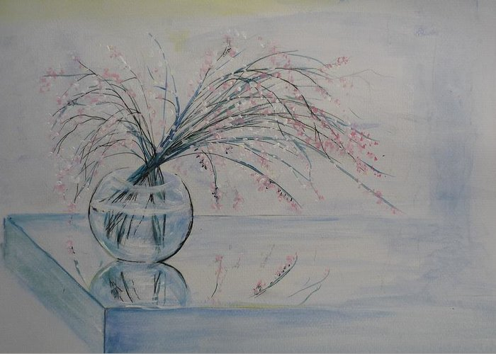 Reflection Greeting Card featuring the painting Flowers Glass Water And Mirror by Lizzy Forrester