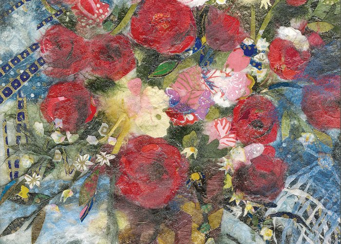 Limited Edition Prints Greeting Card featuring the painting Flowers in a basket by Nira Schwartz