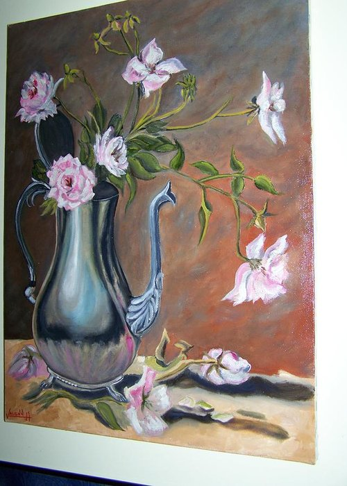 Silver Greeting Card featuring the painting Flowers In A Silver Pot by Charles Vaughn