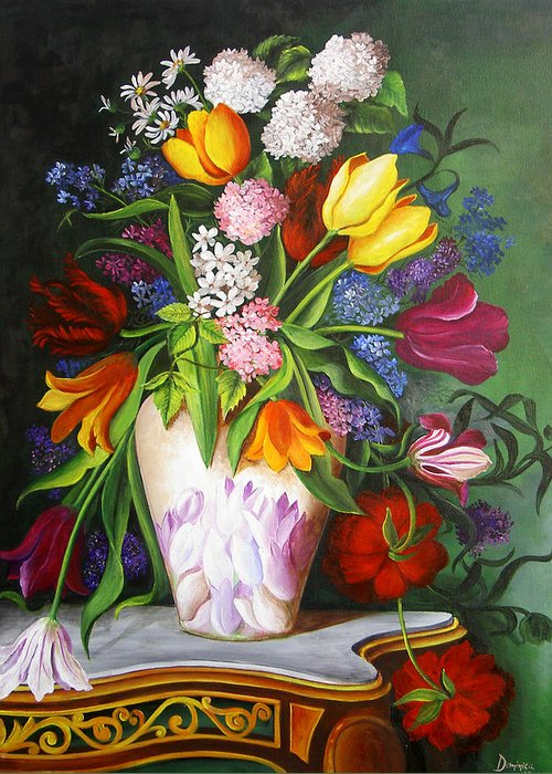 Flowers Greeting Card featuring the painting Flowers In A Vase by Dominica Alcantara