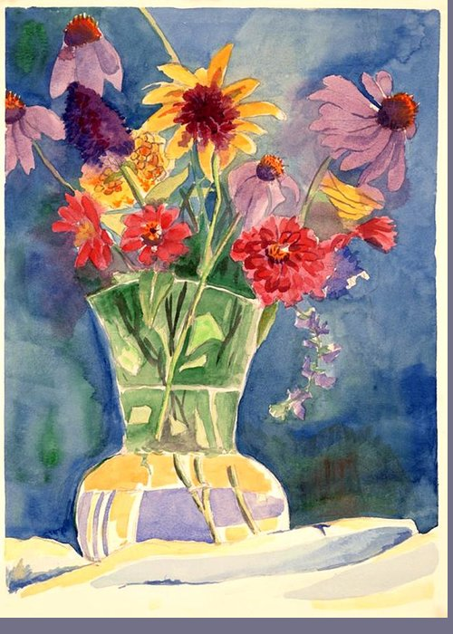 Flowers In Glass Vase Greeting Card featuring the painting Flowers In Glass Vase by Judy Swerlick