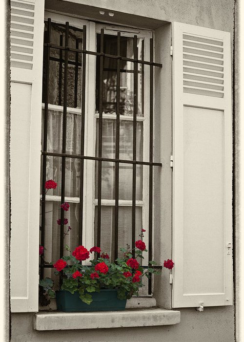 Paris Greeting Card featuring the photograph Flowers in Paris windowbox by Sheila Smart Fine Art Photography