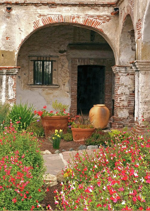 California Missions Greeting Card featuring the photograph Flowers In The South Wing, Mission San Juan Capistrano, California by Denise Strahm