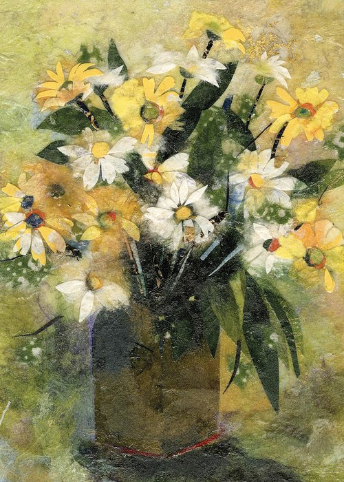 Limited Edition Prints Greeting Card featuring the painting Flowers in white and yellow by Nira Schwartz