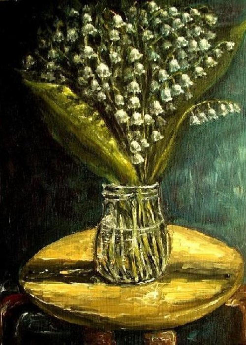 Flower Greeting Card featuring the painting Flowers Lily Of The Valley Still Life Oil Painting by Natalja Picugina