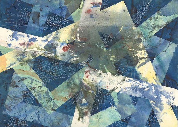 Abstract Greeting Card featuring the painting Flowers Lost In Angles by Beena Samuel