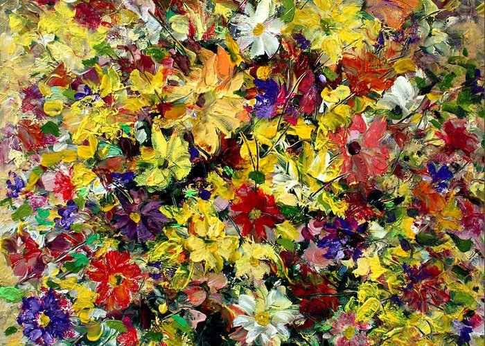 Flowers Greeting Card featuring the painting Flowers by Mario Zampedroni