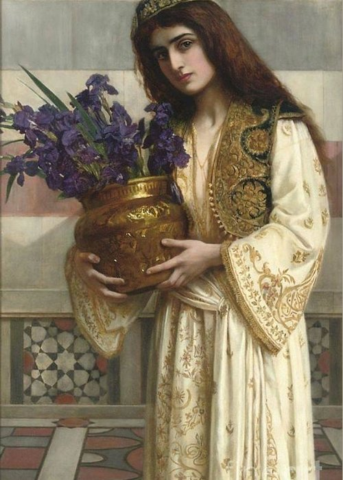 Herbert Gustave Schmalz-carmichael - Flowers Of The Levant 1900 Greeting Card featuring the painting Flowers Of The Levant by MotionAge Designs