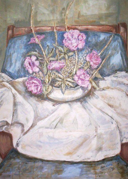 Still Life Greeting Card featuring the painting Flowers On Chair by Joseph Sandora Jr