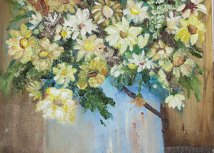 Flowers Greeting Card featuring the painting Flowers by Pamela Wilson