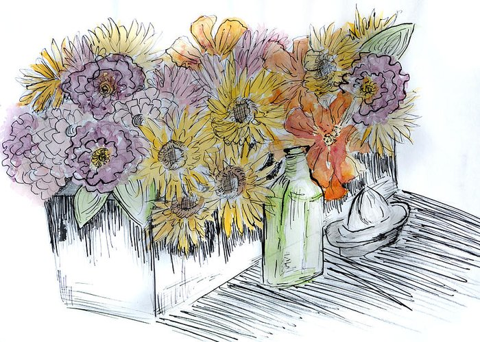 Flowers Greeting Card featuring the mixed media Flowers by Robin Lee