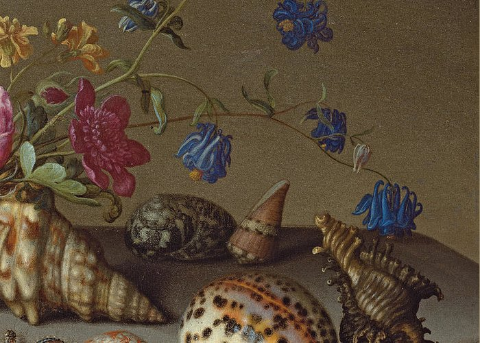 Still Life Greeting Card featuring the painting Flowers, Shells And Insects On A Stone Ledge by Balthasar van der Ast