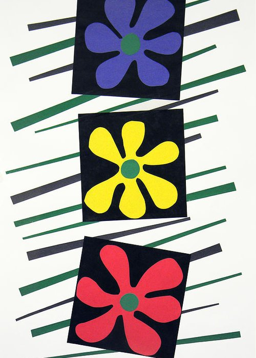Cut Paper On Paper Greeting Card featuring the tapestry - textile Flowers Three by Teddy Campagna