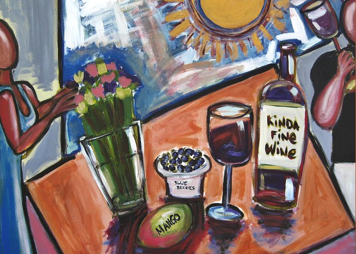 Floral Greeting Card featuring the painting Flowers Wine N Sunshine by Albert Almondia