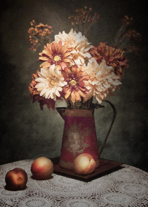 Flowers Greeting Card featuring the photograph Flowers With Peaches Still Life by Tom Mc Nemar