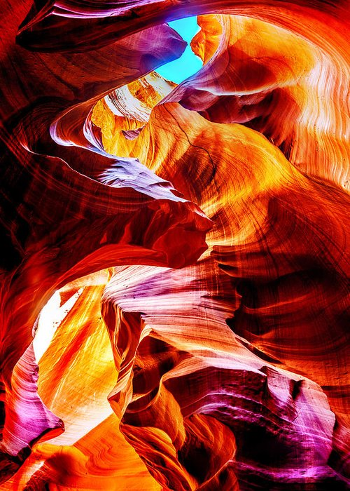 Upper Antelope Canyon Greeting Card featuring the photograph Flowing by Az Jackson