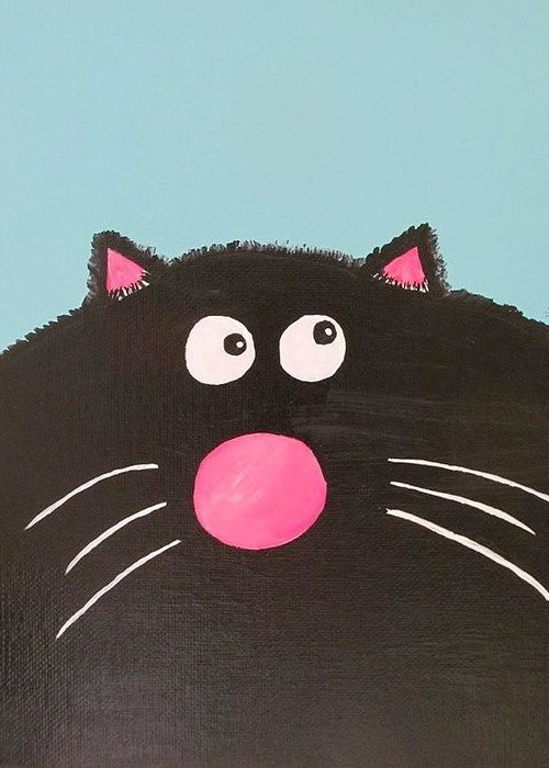 Cat Butts Greeting Card featuring the painting Fluffy Black Cat by Deborah Martin