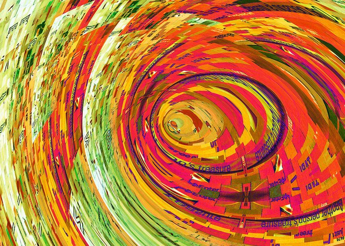 Colorful Greeting Card featuring the digital art Fluorescent Wormhole by Shawna Rowe