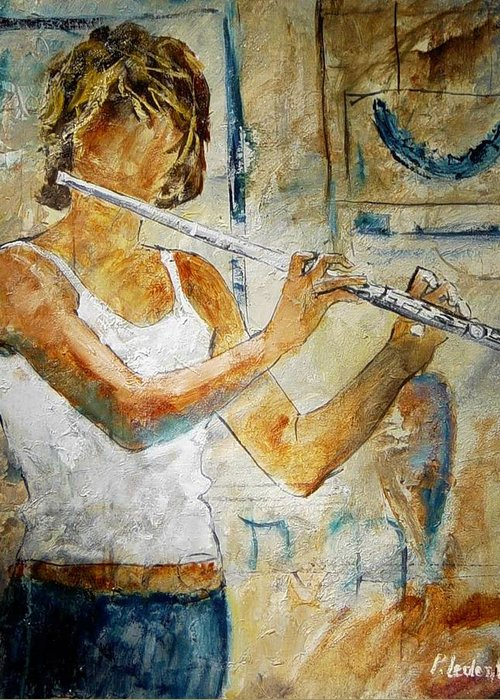 Music Greeting Card featuring the painting Flutist by Pol Ledent