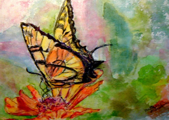 Butterfly Greeting Card featuring the painting Flutterby - Watercolor by Donna Hanna