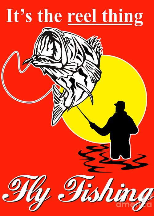 Fly Fisherman Greeting Card featuring the digital art Fly Fisherman Catching Largemouth Bass by Aloysius Patrimonio