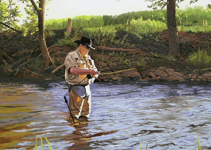 Fisherman Greeting Card featuring the painting Fly Fisherman by Kenneth Young