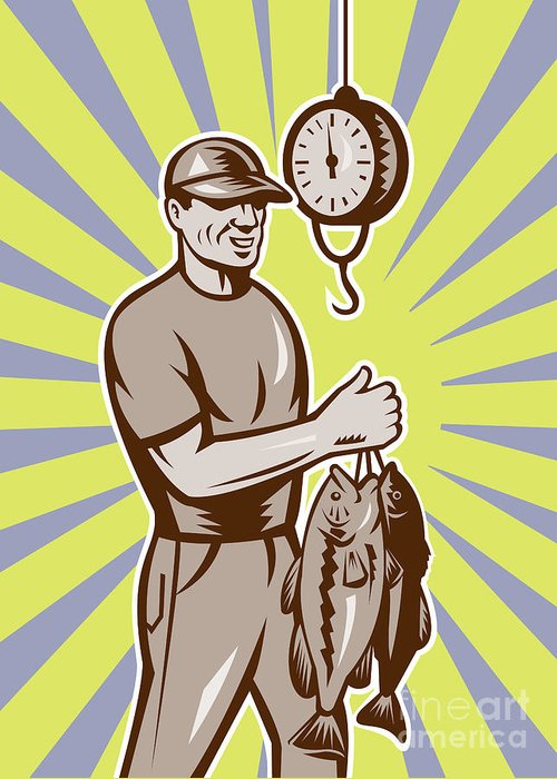Largemouth Greeting Card featuring the digital art Fly Fisherman Weighing In Fish Catch by Aloysius Patrimonio