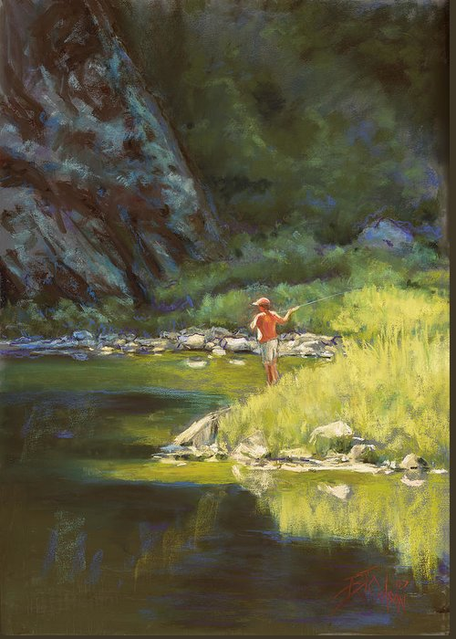 Fly Fisherman Greeting Card featuring the painting Fly Fishing by Billie Colson