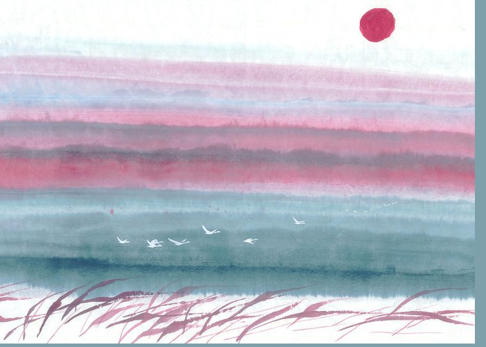A Flock Of Birds Flying Across The Water At Dawn. This Is A Contemporary Chinese Ink And Color On Rice Paper Painting With Simple Zen Style Brush Strokes.  Greeting Card featuring the painting Flying Across by Mui-Joo Wee