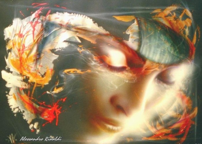 Dream Artekaos Rinaldi Mixed Media Contemporary Greeting Card featuring the painting Flying... by Alessandro Rinaldi