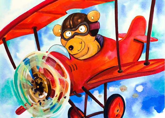 Bear Greeting Card featuring the painting Flying Bear by Scott Nelson