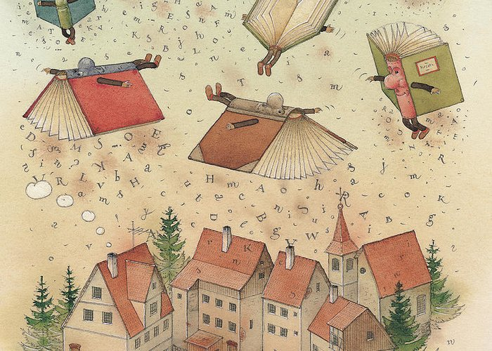 Books Town Flying Alphabet Greeting Card featuring the painting Flying Books by Kestutis Kasparavicius