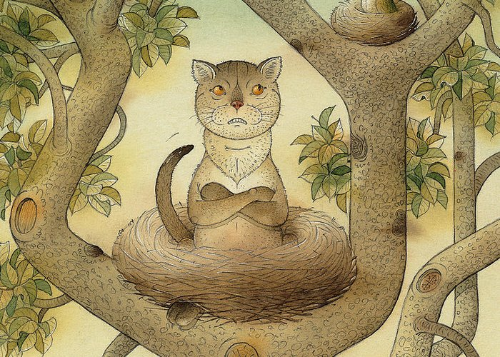 Tree Nest Cat Bird Landscape Sky Greeting Card featuring the painting Flying Cat by Kestutis Kasparavicius