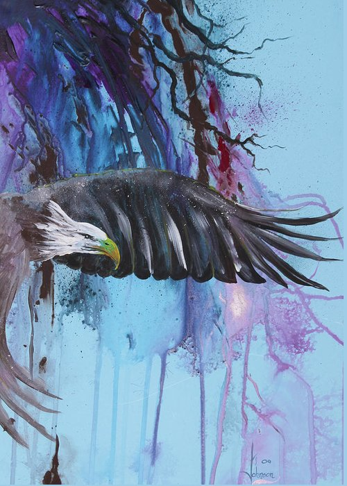 Exotc Birds Greeting Card featuring the painting Flying High by Larry Johnson