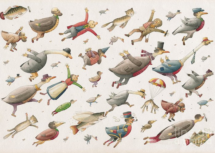 Sky Birds Flying Airplane Greeting Card featuring the painting Flying by Kestutis Kasparavicius