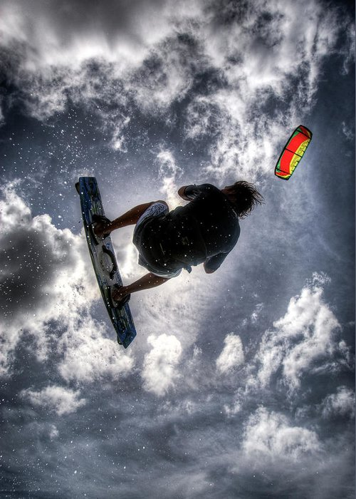 Kiteboarding Greeting Card featuring the photograph Flying by Nick Shirghio
