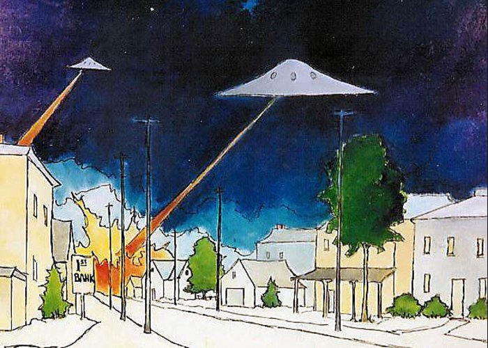 Ufo's Greeting Card featuring the painting Flying Saucer Attack by James Smith