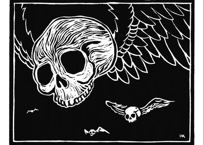 Krauzyk Greeting Card featuring the print Flying Skulls by Henry Krauzyk