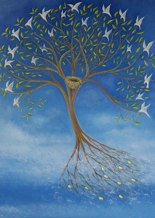 Tree Greeting Card featuring the painting Flying Tree by Tone Aanderaa