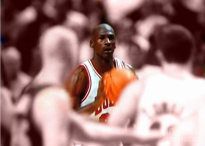 Michael Jordan Greeting Card featuring the digital art Focus by Brandon Ramquist