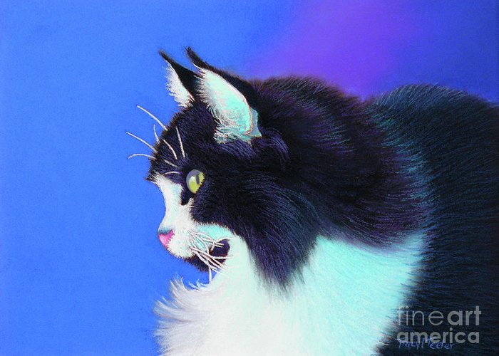 Cat Greeting Card featuring the pastel Focus by Tracy L Teeter
