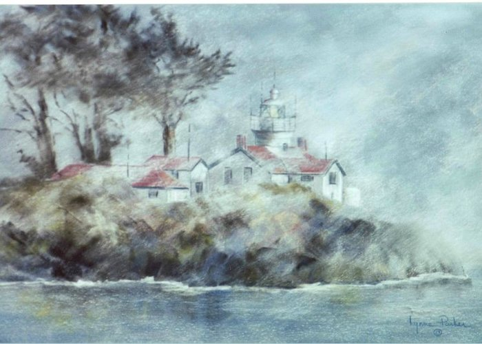 Lighthouse Greeting Card featuring the painting Fog At Batterypoint Lighthouse by Lynne Parker