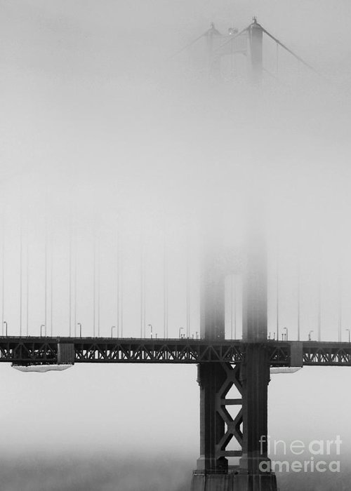 Black And White Greeting Card featuring the photograph Fog At The Golden Gate Bridge 4 - Black And White by Wingsdomain Art and Photography