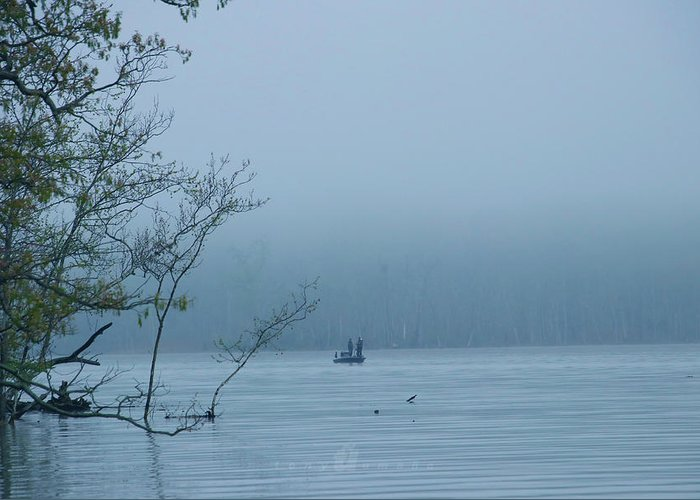 Greeting Card featuring the photograph Fog Fishing by Tony Umana