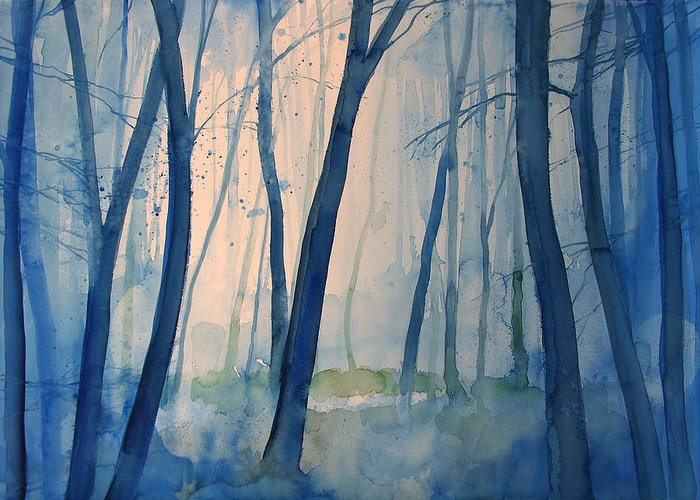 Tree Greeting Card featuring the painting Fog In The Forest by Alessandro Andreuccetti