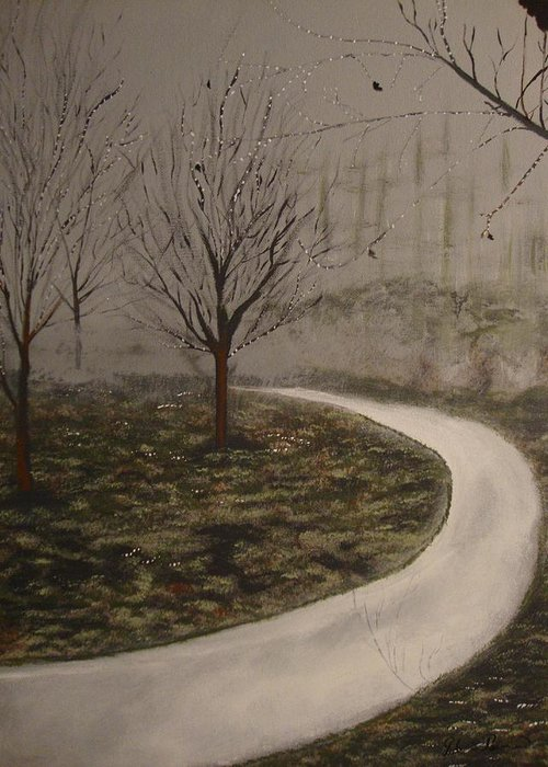 Landscape Greeting Card featuring the painting Fog by Julio Palomino